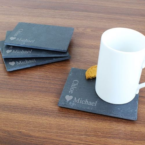 Personalised Heart Motif 4 Pack of Slate Coasters